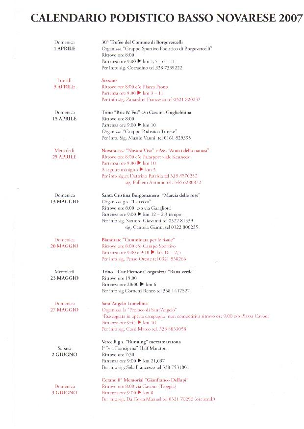 Calendario Podismo Piemonte.Calendario Gare Podistiche Piemo
